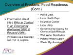 overview of products food readiness cont