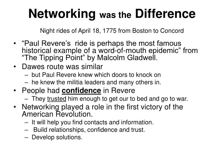 Networking was the difference night rides of april 18 1775 from boston to concord