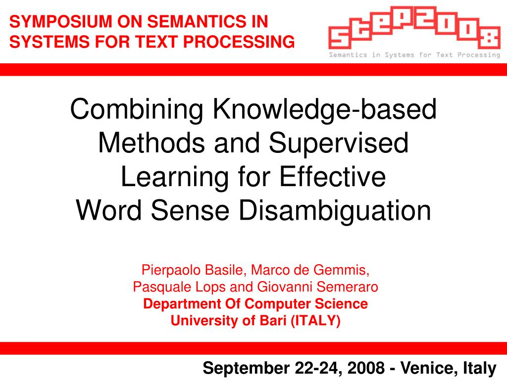combining knowledge based methods and supervised learning for effective word sense disambiguation l.