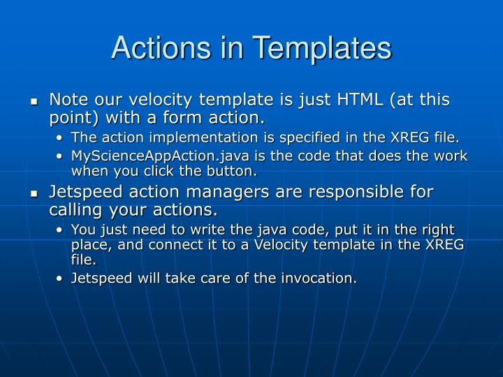 Actions in Templates
