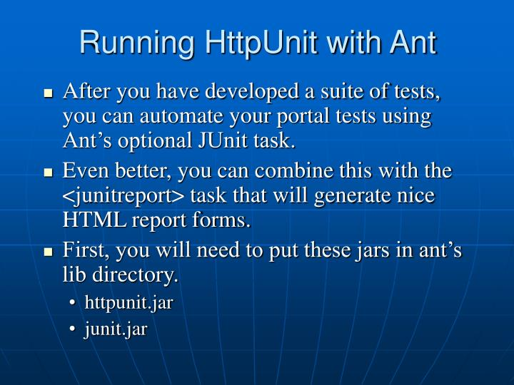 Running HttpUnit with Ant