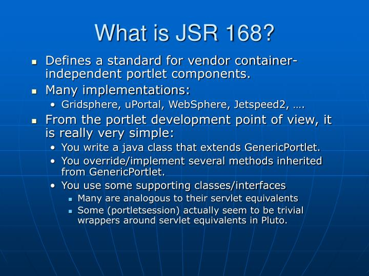 What is JSR 168?