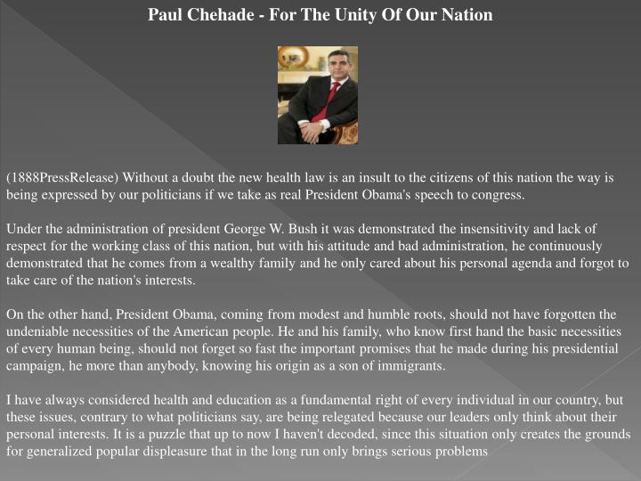 Paul Chehade - For The Unity Of Our Nation