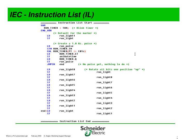 IEC - Instruction List (IL)