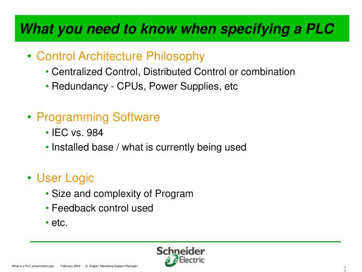 What you need to know when specifying a PLC