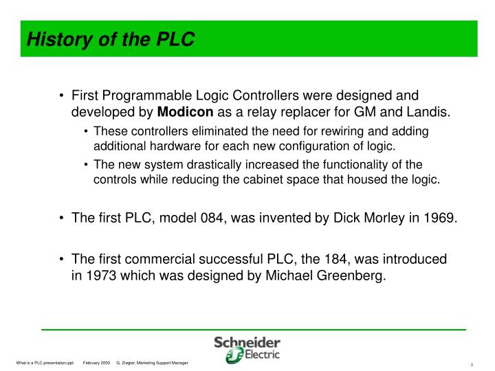 History of the PLC
