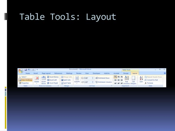 Table Tools: