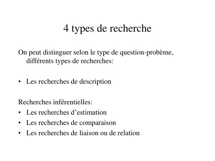 4 types de recherche
