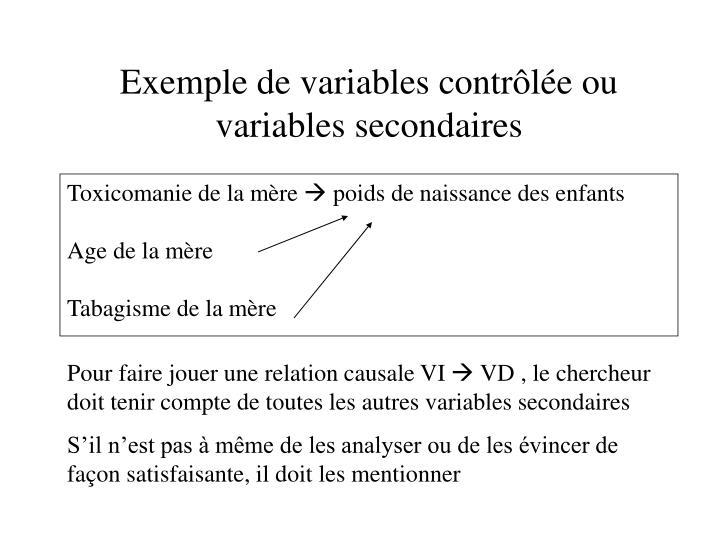Exemple de variables contrôlée ou variables secondaires