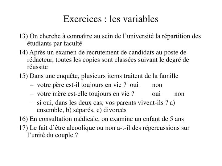 Exercices: les variables