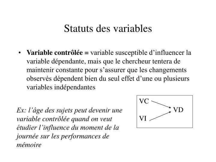 Statuts des variables