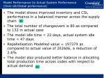 model performance vs actual system performance over all global performance