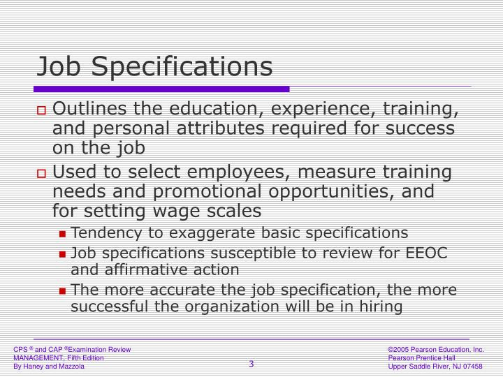 Job specifications