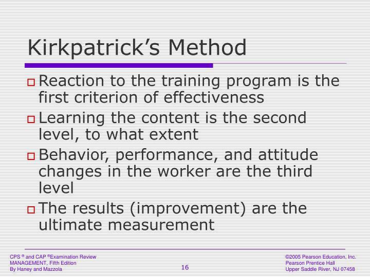 Kirkpatrick's Method