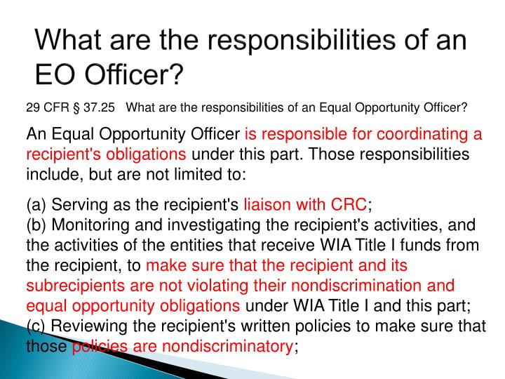 What are the responsibilities of an EO Officer?