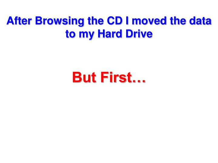 After Browsing the CD I moved the data to my Hard Drive