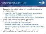 compliance discussion forum