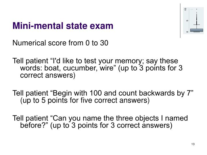 Mini-mental state exam