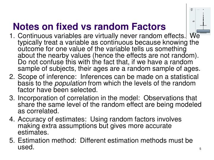 Notes on fixed vs random Factors