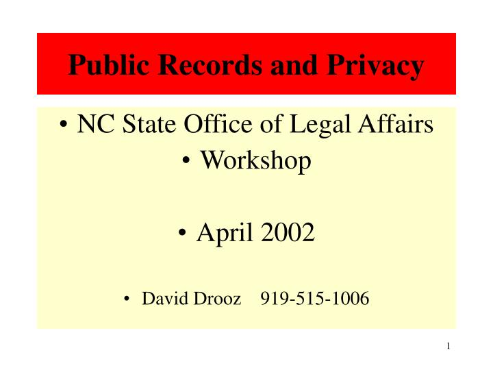 public records and privacy n.