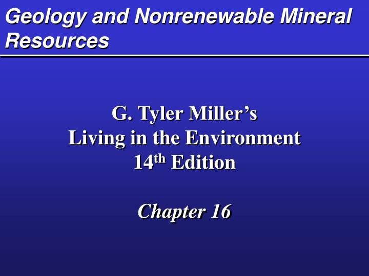 geology and nonrenewable mineral resources n.