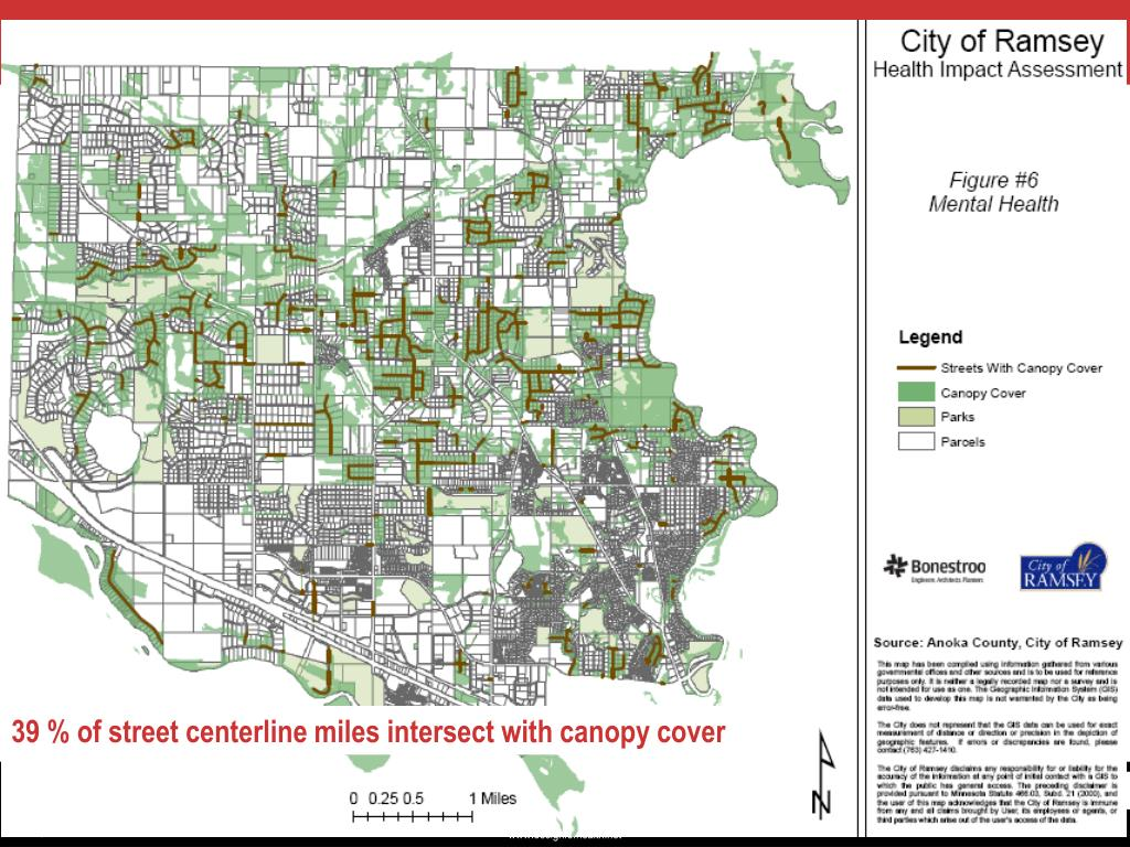 39 % of street centerline miles intersect with canopy cover