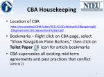 cba housekeeping