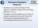 grievance procedure article 31