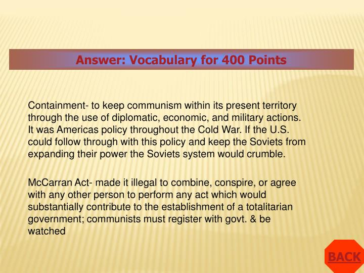 Answer: Vocabulary for 400 Points