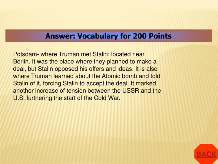 Answer: Vocabulary for 200 Points