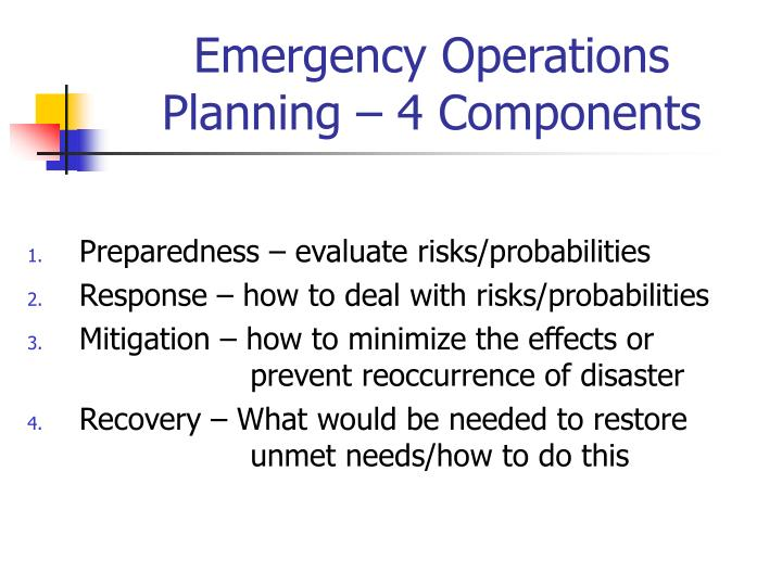 Emergency Operations Planning – 4 Components