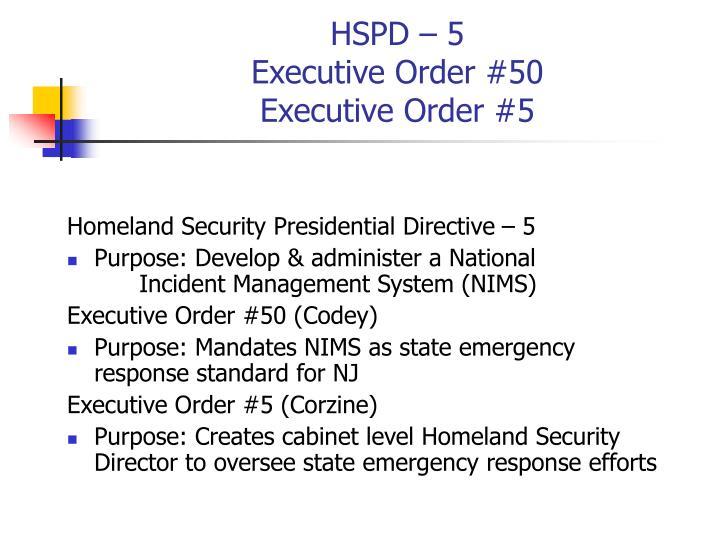 Hspd 5 executive order 50 executive order 5