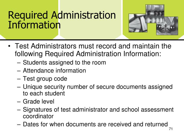 Required Administration