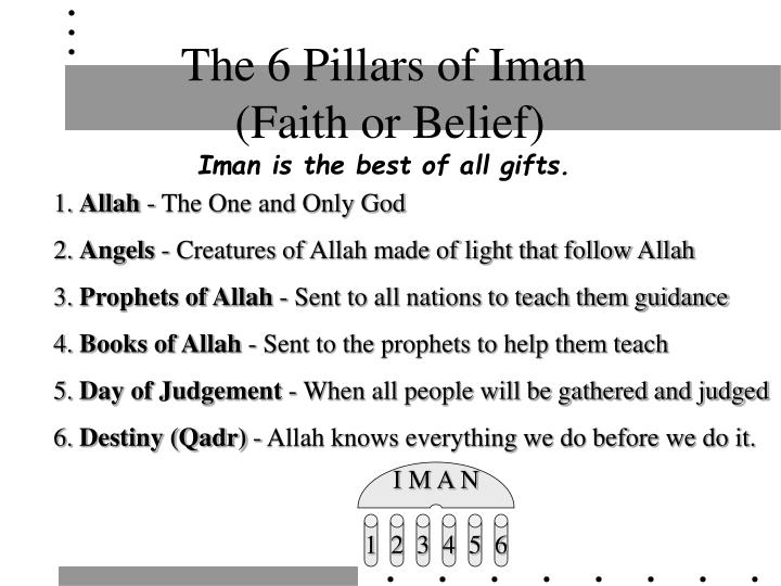 The 6 pillars of iman faith or belief iman is the best of all gifts