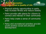 parks recreation fundamental to quality of life