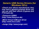 generic usb device drivers for windows os s