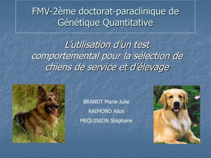 fmv 2 me doctorat paraclinique de g n tique quantitative n.