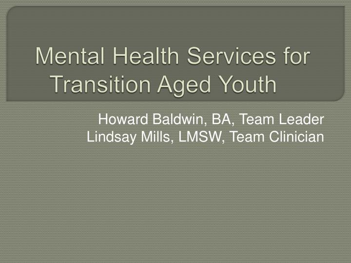 mental health services for transition aged youth n.