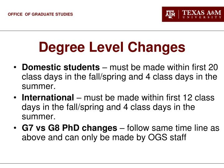 Degree Level Changes