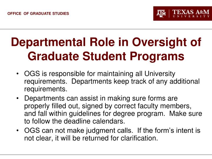 Departmental Role in Oversight of Graduate Student Programs