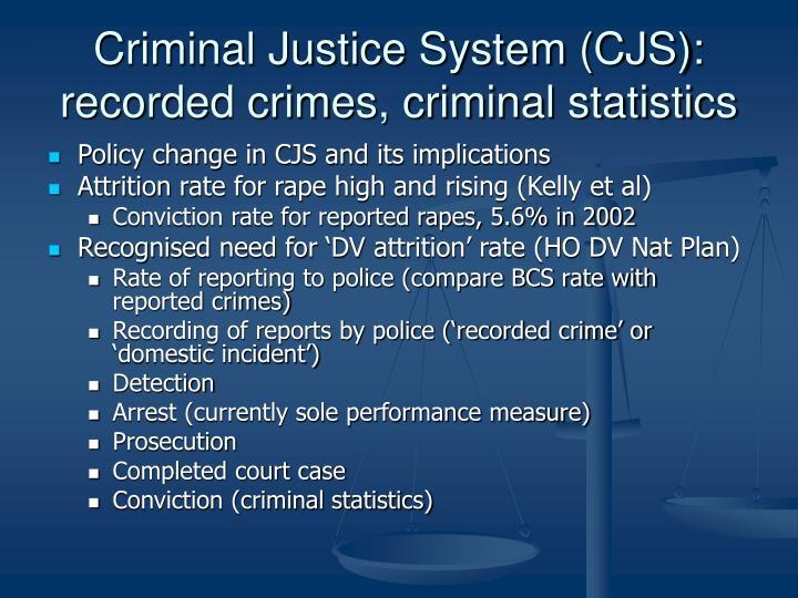 Criminal Justice System (CJS): recorded crimes, criminal statistics