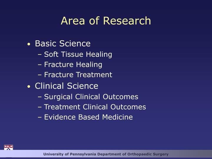 Area of Research