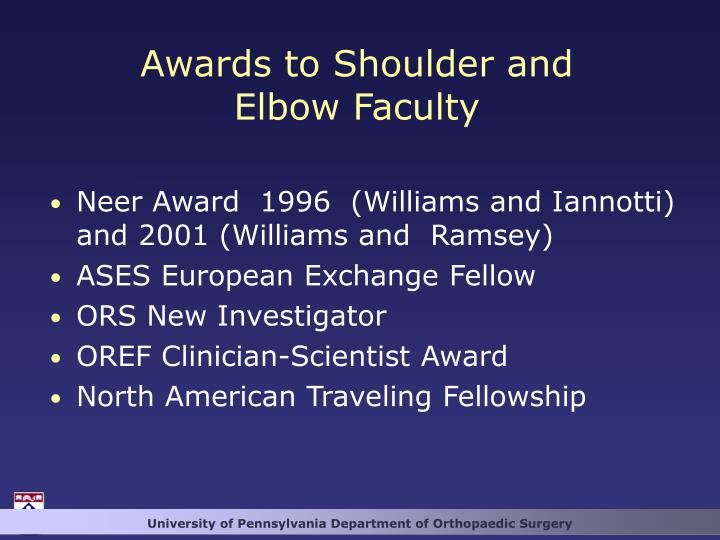 Awards to Shoulder and