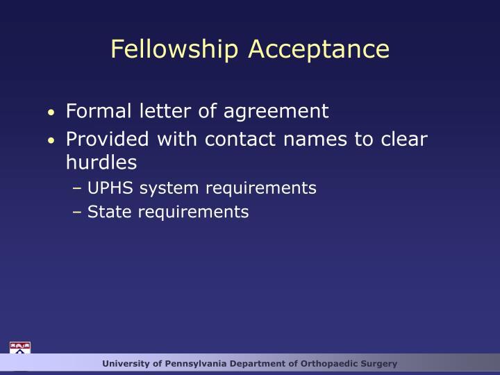 Fellowship Acceptance