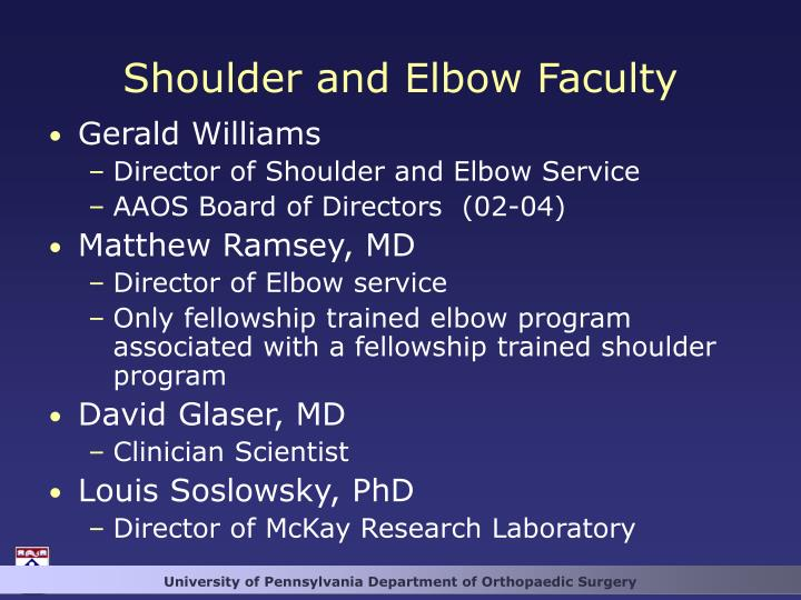 Shoulder and Elbow Faculty