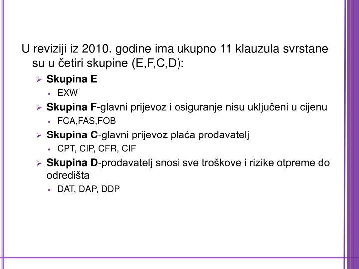 U reviziji iz 2010. godine ima ukupno 11 klauzula svrstane su u četiri skupine (E,F,C,D):