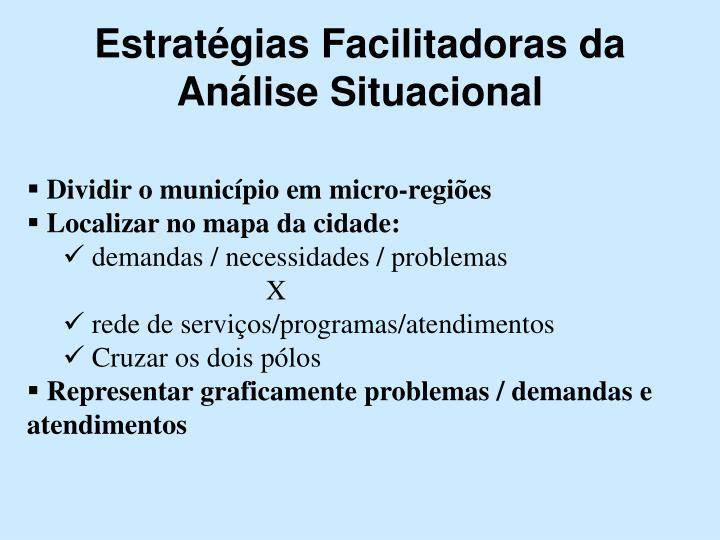 Estratégias Facilitadoras da Análise Situacional