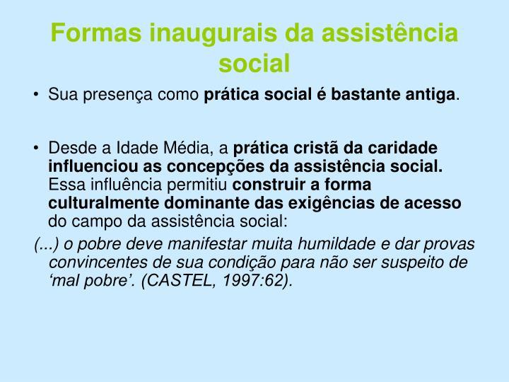 Formas inaugurais da assistência social