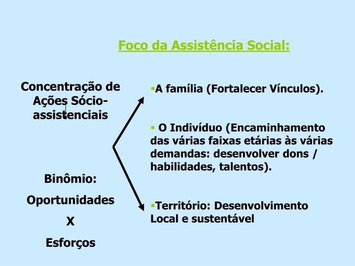 Foco da Assistência Social:
