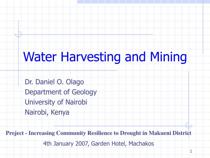 water harvesting and mining n.
